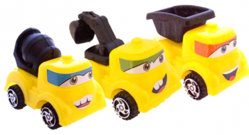 gelbe Baufahrzeuge mit Gesicht