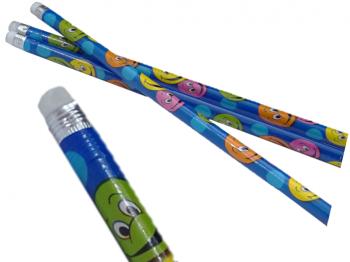 blauer Bleistift mit lachenden Gesicht