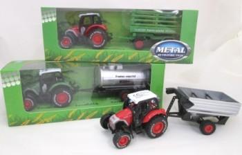 Traktor mit Anhänger (rot und grün)