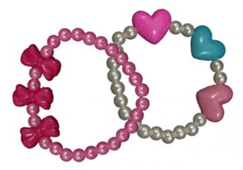 Perlenarmband mit Herzen / Schleifen